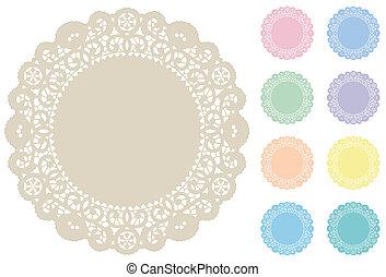 Lace doily coloca alfombras, pasteles