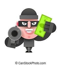 Ladrón con una bolsa de dinero huyendo de la acusación. Ilustración de vectores