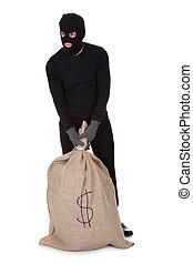 Ladrón con una gran bolsa de dinero