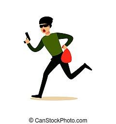 Ladrón con una máscara con un arma y un saco, robo con colorido vector de caracteres Ilustración