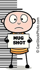 Ladrón dando una foto policial, dibujo animado ladrón criminal ilustración vectorial