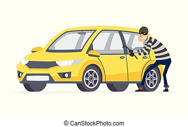 Ladrón de coches, dibujos animados ilustraciones de personajes