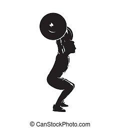 Ladrón de pesas con gran pesa, vista lateral. Abstract aislado vector silueta