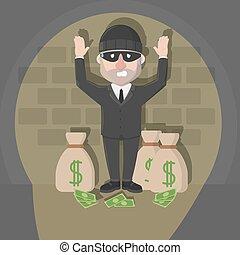 ladrón, hombre de negocios, agarrado, saco