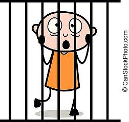 Ladrón tras las rejas: dibujo animado ladrón criminal ilustración vectorial