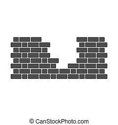 ladrillo, apertura, pared, icono