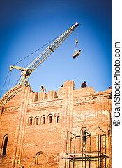 ladrillo, construcción, edificio