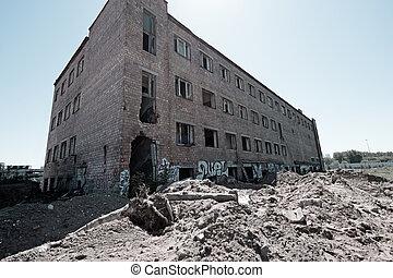 ladrillo, demolido, edificio