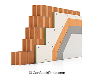 ladrillo, detalle, termal, pared, aislamiento
