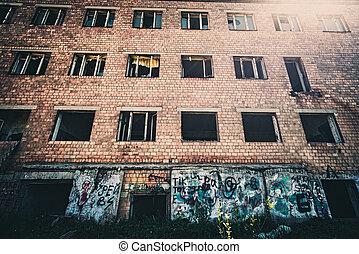 ladrillo, edificio., ser, edificio, destroyed., viejo