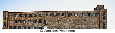 ladrillo, multi-story, fábrica, vidrio, edificio abandonado, windows, rojo, roto