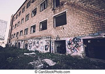 ladrillo, parte, fábrica, roto, imagen, vidrio., rojo, toned, edificio, abandonado