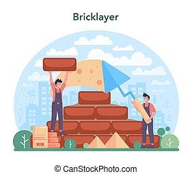 ladrillo, profesional, concept., constructor, albañil, construir, pared