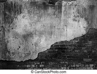 ladrillo, viejo, pared, concreto
