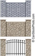 Ladrillo y valla de piedra
