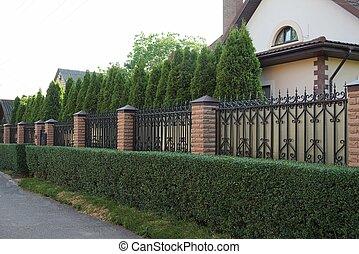 ladrillos, barras, marrón, largo, cerca, pared, hierro, agudo, exterior