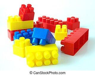 Ladrillos de juguete plástico