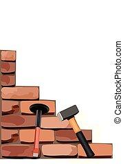 ladrillos, herramientas, trabajo, construcción, edificio