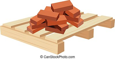 ladrillos, paleta, terracota, construcción, transporte, de madera