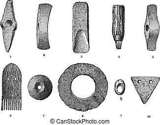 Lago Age, varios objetos de estaciones de lago, grabados antiguos.
