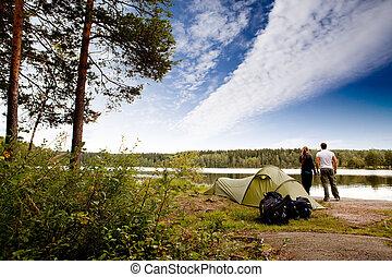 lago, campamento
