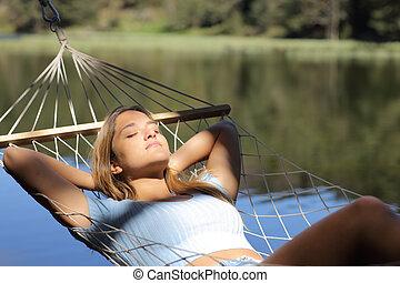 lago, descansar, sueño, mujer, hamaca