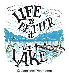 lago, hand-lettering, mejor, señal, vida