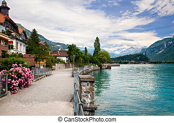 lago, suiza, berne, ambulante, brienz