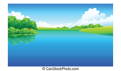 Lago y paisaje verde