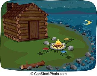 lakeside, cabaña