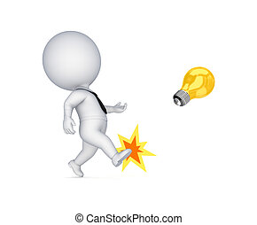lamp., patear, persona, amarillo, 3d, pequeño