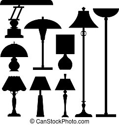Lamps vector siluetas