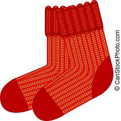 lana roja, calcetines, tejer
