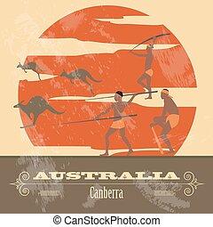 landmarks., diseñar, australia, retro