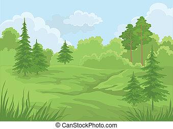 Landscape, bosque de verano