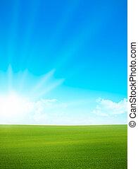 Landscape - campo verde, cielo azul