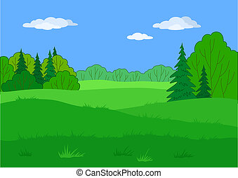 Landscape, claro del bosque de verano