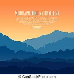 Landscape con crepúsculo en las montañas azules
