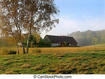 Landscape con granja vieja
