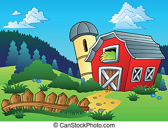 Landscape con granja y cerca