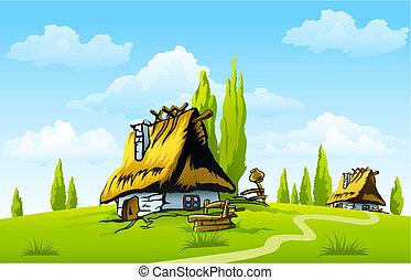 Landscape con la vieja casa del pueblo