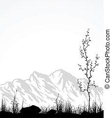 Landscape con montañas, vidrio y árbol.