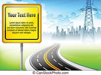 Landscape con señal de ruta y texto
