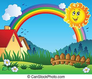 Landscape con sol y arco iris