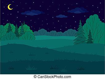 Landscape, glade del bosque de verano