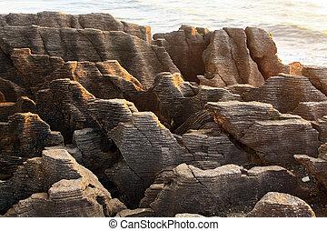 Landscape of Pancake Grand Canyon rock en la costa oeste de Nueva Zelanda