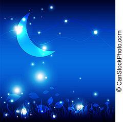 Landscape por la noche con la luna