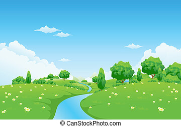 Landscape verde con árboles de río y flores