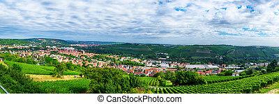 Landscape y panorámica vista de Wurzburg, Bavaria