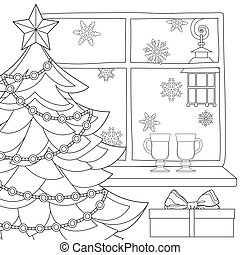 lantern., vino, navidad, copos de nieve, luz de navidad, cartel, tema, reflexionó, guirnalda, estrella, árbol, calle